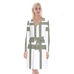 Cross Of Lorraine  Long Sleeve Velvet Front Wrap Dress