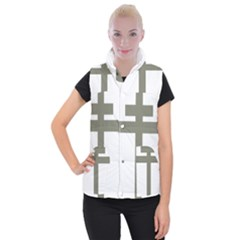 Cross Of Lorraine  Women s Button Up Puffer Vest