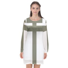 Cross Of Lorraine  Long Sleeve Chiffon Shift Dress
