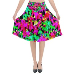 Colorful Leaves Flared Midi Skirt