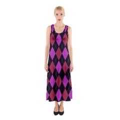 Plaid pattern Sleeveless Maxi Dress
