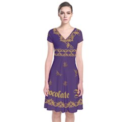 Chocolate Frogs Short Sleeve Front Wrap Dress