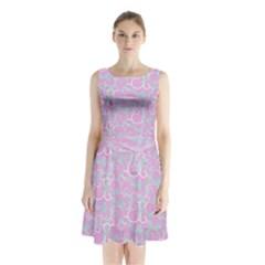 Plaid pattern Sleeveless Waist Tie Chiffon Dress