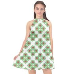 Floral Collage Pattern Halter Neckline Chiffon Dress