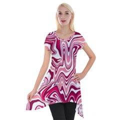 Pink Marble Pattern Short Sleeve Side Drop Tunic