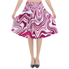 Pink Marble Pattern Flared Midi Skirt