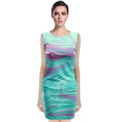 Iridescent Marble Pattern Classic Sleeveless Midi Dress