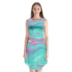 Iridescent Marble Pattern Sleeveless Chiffon Dress