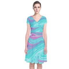 Iridescent Marble Pattern Short Sleeve Front Wrap Dress