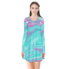 Iridescent Marble Pattern Flare Dress