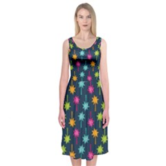 Funny Palm Tree Pattern Midi Sleeveless Dress