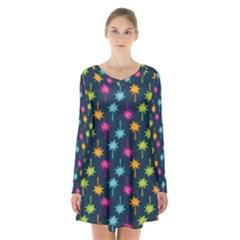 Funny Palm Tree Pattern Long Sleeve Velvet V Neck Dress