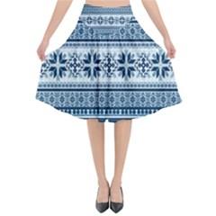 Pattern Flared Midi Skirt