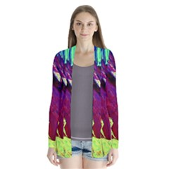 Abstract Painting ,blue,yellow,red,green Cardigans