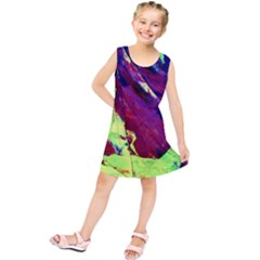 Abstract Painting ,blue,yellow,red,green Kids  Tunic Dress