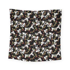 Dark Chinoiserie Floral Collage Pattern Square Tapestry (small)
