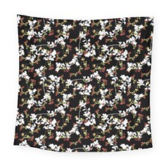 Dark Chinoiserie Floral Collage Pattern Square Tapestry (large)