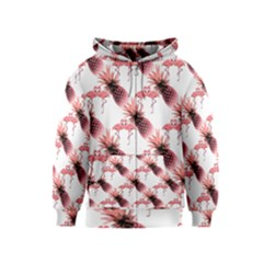 Flamingo Pineapple Tropical Pink Pattern Kids  Zipper Hoodie