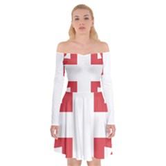 Serbian Cross  Off Shoulder Skater Dress