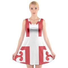 Serbian Cross  V-Neck Sleeveless Skater Dress