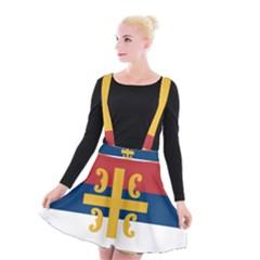 Flag Of The Serbian Orthodox Church Suspender Skater Skirt