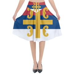 Flag Of The Serbian Orthodox Church Flared Midi Skirt