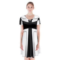 Cross of the Teutonic Order Short Sleeve V-neck Flare Dress