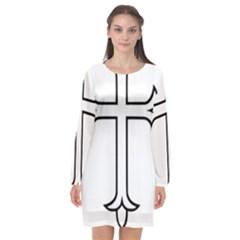 Western Syriac Cross Long Sleeve Chiffon Shift Dress
