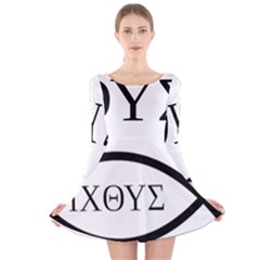 Ichthys  Jesus Christ, son of God, Savior  Symbol Long Sleeve Velvet Skater Dress