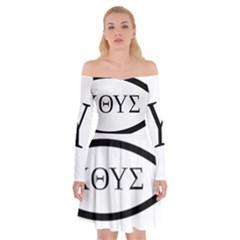 Ichthys  jesus Christ, Son Of God, Savior  Symbol Off Shoulder Skater Dress
