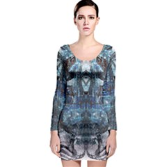 Angel Wings Blue Grunge Texture Long Sleeve Bodycon Dress