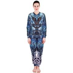 Angel Wings Blue Grunge Texture OnePiece Jumpsuit (Ladies)