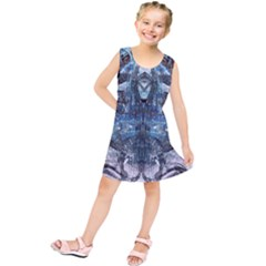 Angel Wings Blue Grunge Texture Kids  Tunic Dress