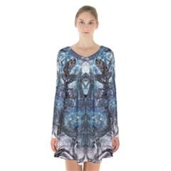 Angel Wings Blue Grunge Texture Long Sleeve Velvet V Neck Dress