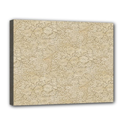 Old Floral Crochet Lace Pattern beige bleached Canvas 14  x 11