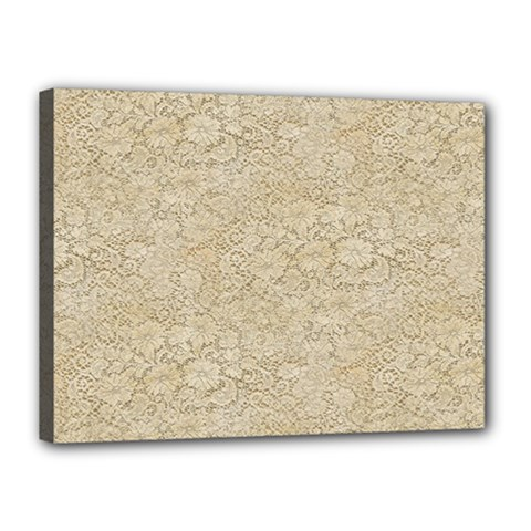 Old Floral Crochet Lace Pattern beige bleached Canvas 16  x 12