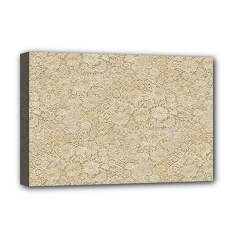 Old Floral Crochet Lace Pattern beige bleached Deluxe Canvas 18  x 12