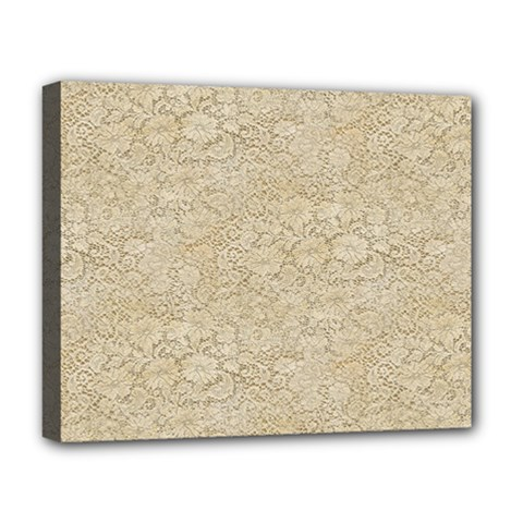 Old Floral Crochet Lace Pattern beige bleached Deluxe Canvas 20  x 16