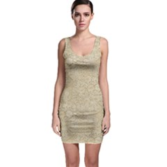 Old Floral Crochet Lace Pattern beige bleached Sleeveless Bodycon Dress