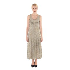 Old Floral Crochet Lace Pattern beige bleached Sleeveless Maxi Dress