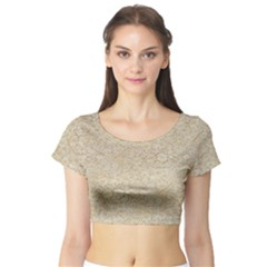 Old Floral Crochet Lace Pattern Beige Bleached Short Sleeve Crop Top (tight Fit)