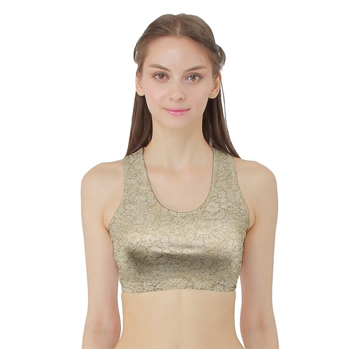 Old Floral Crochet Lace Pattern beige bleached Sports Bra with Border