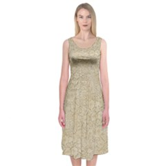 Old Floral Crochet Lace Pattern Beige Bleached Midi Sleeveless Dress