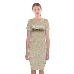 Old Floral Crochet Lace Pattern Beige Bleached Classic Short Sleeve Midi Dress