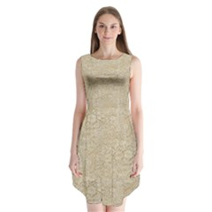 Old Floral Crochet Lace Pattern Beige Bleached Sleeveless Chiffon Dress