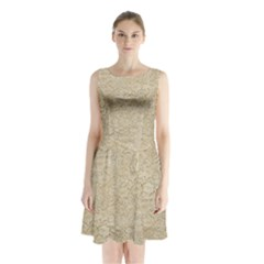 Old Floral Crochet Lace Pattern Beige Bleached Sleeveless Waist Tie Chiffon Dress