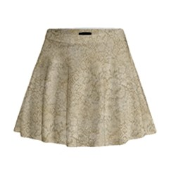 Old Floral Crochet Lace Pattern Beige Bleached Mini Flare Skirt