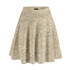 Old Floral Crochet Lace Pattern Beige Bleached High Waist Skirt