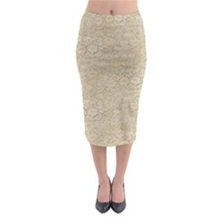 Old Floral Crochet Lace Pattern Beige Bleached Midi Pencil Skirt