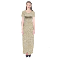 Old Floral Crochet Lace Pattern Beige Bleached Short Sleeve Maxi Dress